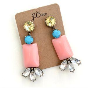 Jcrew pink stone statement earrings